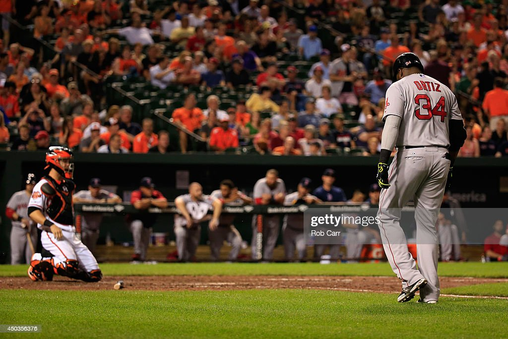<a gi-track='captionPersonalityLinkClicked' href=/galleries/search?phrase=David+Ortiz&family=editorial&specificpeople=175825 ng-click='$event.stopPropagation()'>David Ortiz</a> #34 of the Boston Red Sox walks back to the dugout after lining out for the second out of the ninth inning during the Red Sox 4-0 loss to the Baltimore Orioles at Oriole Park at Camden Yards on June 9, 2014 in Baltimore, Maryland.