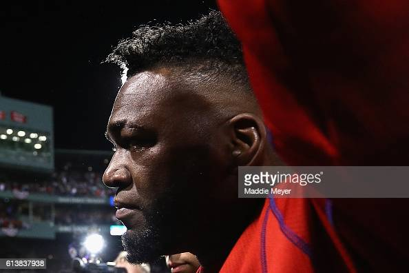 David Ortiz of the Boston Red Sox walks off the field after the Cleveland Indians defeated the Boston Red Sox 43 in game three of the American League...