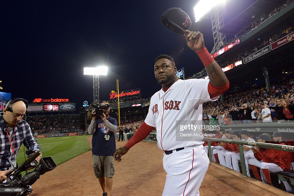 David Ortiz #34 of the Boston Red Sox walks out to acknowledge the crowd during a ceremony to honor his 500th home run hit last week in an away game at Fenway Park on September 21, 2015 in Boston, Massachusetts.