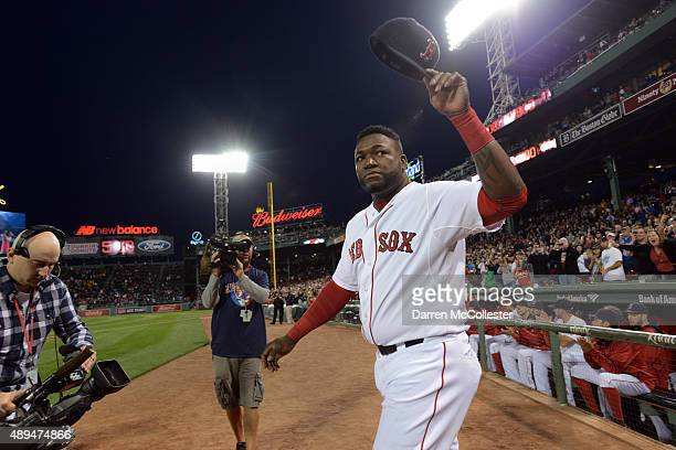 David Ortiz of the Boston Red Sox walks out to acknowledge the crowd during a ceremony to honor his 500th home run hit last week in an away game at...