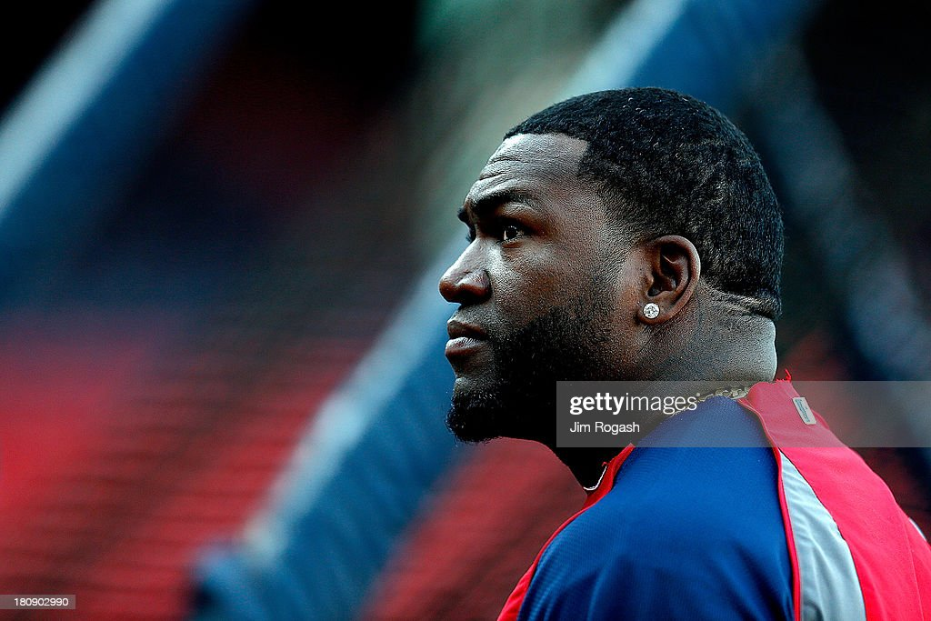 David Ortiz #34 of the Boston Red Sox watches batting practice before a game with Baltimore Orioles at Fenway Park on September 17 in Boston, Massachusetts.