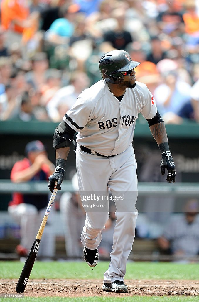 <a gi-track='captionPersonalityLinkClicked' href=/galleries/search?phrase=David+Ortiz&family=editorial&specificpeople=175825 ng-click='$event.stopPropagation()'>David Ortiz</a> #34 of the Boston Red Sox watches the flight of his two-run home run in the third inning against the Baltimore Orioles at Oriole Park at Camden Yards on July 28, 2013 in Baltimore, Maryland.