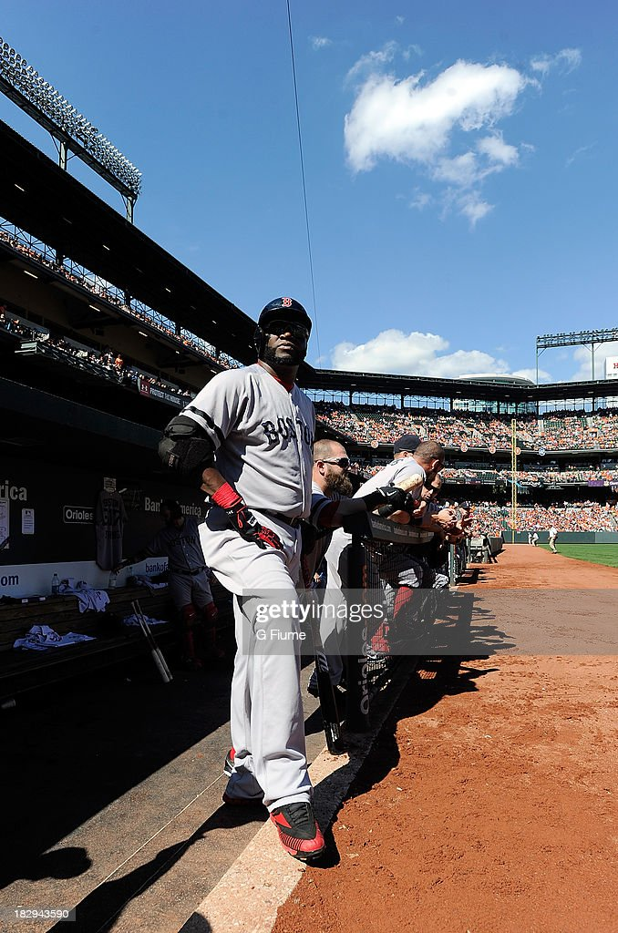 David Ortiz #34 of the Boston Red Sox watches the game against the Baltimore Orioles at Oriole Park at Camden Yards on September 29, 2013 in Baltimore, Maryland.