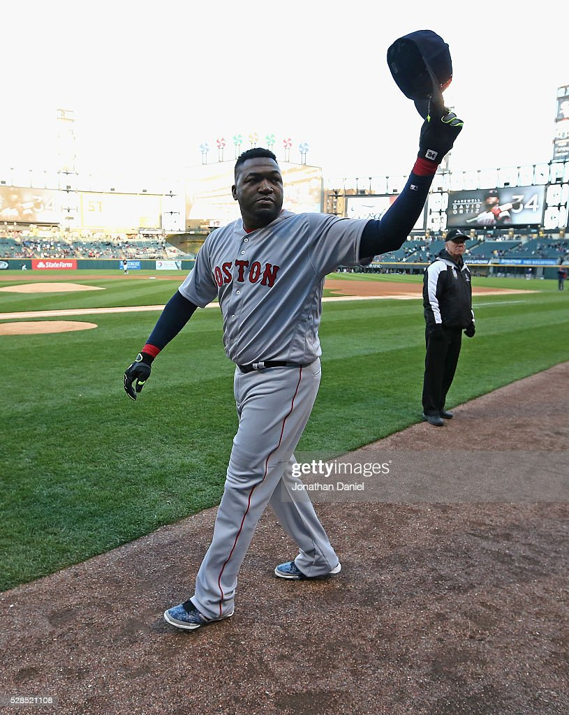 <a gi-track='captionPersonalityLinkClicked' href=/galleries/search?phrase=David+Ortiz&family=editorial&specificpeople=175825 ng-click='$event.stopPropagation()'>David Ortiz</a> #34 of the Boston Red Sox waves to the crowd before a retirement ceremony before the Red Sox take on the Chicago White Sox at U.S. Cellular Field on May 5, 2016 in Chicago, Illinois.