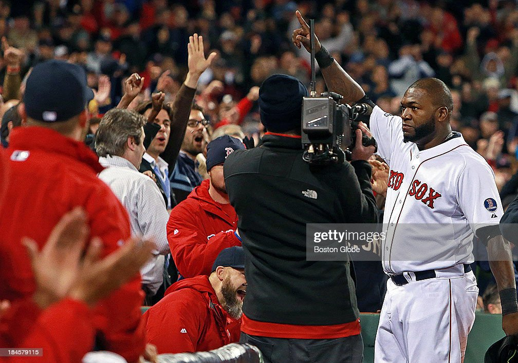 David Ortiz takes a curtain call following his eighth inning grand slam that tied the game at 5-5. The Boston Red Sox hosted the Detroit Tigers in Game Two of the American League Championship Series at Fenway Park.