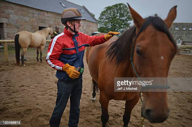 David Osmand formerly of the Royal Air Force brushes an American Quarter Horse during a course at HorseBack UK on June 28 2012 in Aboyne Scotland Set...