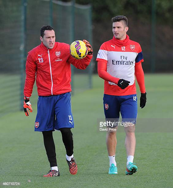 David Ospina and Olivier Giroud of Arsenal during the Arsenal Training Session at London Colney on December 20 2014 in St Albans England