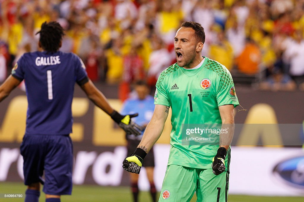 <a gi-track='captionPersonalityLinkClicked' href=/galleries/search?phrase=David+Ospina&family=editorial&specificpeople=4104267 ng-click='$event.stopPropagation()'>David Ospina</a> goalkeeper of Colombia reacts to his save in the shootout during a Quarterfinal match between Colombia and Peru at MetLife Stadium as part of Copa America Centenario US 2016 on June 17, 2016 in East Rutherford, New Jersey, US. Colombia won the 0-0 game in the shootout.