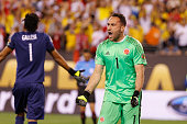 David Ospina goalkeeper of Colombia reacts to his save in the shootout during a Quarterfinal match between Colombia and Peru at MetLife Stadium as...