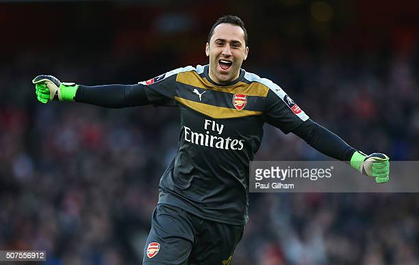 David Ospina of Arsenal celebrates his team's second goal during the Emirates FA Cup Fourth Round match between Arsenal and Burnley at Emirates...