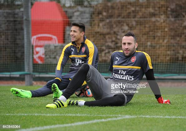 David Ospina of Arsenal during a training session on February 19 2017 in St Albans England