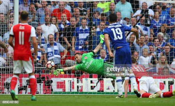David Ospina of Arsenal is unable to save the shot from Diego Costa of Chelsea who scores to make it 11 during the Emirates FA Cup Final match...