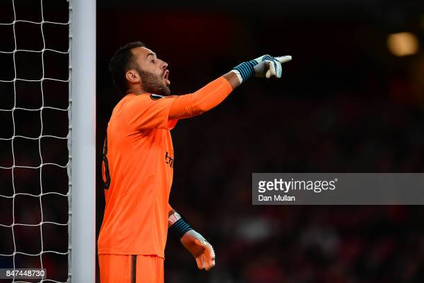 David Ospina of Arsenal issues instructions to his team mates during the UEFA Europa League group H match between Arsenal FC and 1 FC Koeln at...