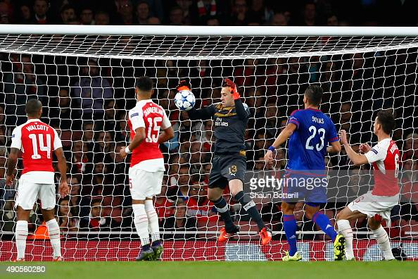 David Ospina of Arsenal scores an own goal during the UEFA Champions League Group F match between Arsenal FC and Olympiacos FC at the Emirates...