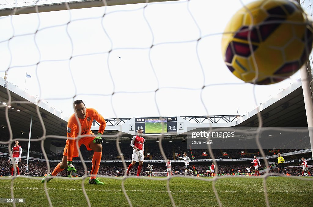 David Ospina of Arsenal watches the header from Harry Kane of Tottenham Hotspur go into the net for the winning goal during the Barclays Premier League match between Tottenham Hotspur and Arsenal at White Hart Lane on February 7, 2015 in London, England.