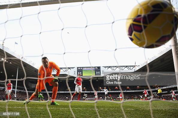 David Ospina of Arsenal watches the header from Harry Kane of Tottenham Hotspur go into the net for the winning goal during the Barclays Premier...