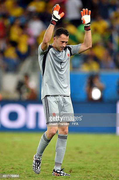 David Ospina of Colombia acknowledges the fans as he is replaced during the 2014 FIFA World Cup Brazil Group C match between Japan and Colombia at...