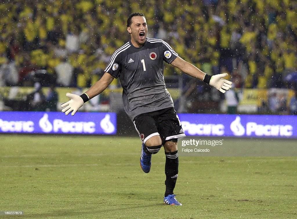 David Ospina of Colombia celebrates a goal during a match between Colombia and Ecuador as part of the South American Qualifiers for the FIFA's World Cup Brazil 2014 at the Metroplitano Roberto Melendez Stadium on September 6 , 2013 in Barranquilla, Colombia.
