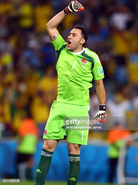 David Ospina of Colombia Celebrates after Second goal during the 2014 FIFA World Cup Brazil round 16 match between Colombia and Uruguay at Maracana...
