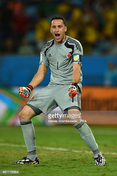 David Ospina of Colombia celebrates during the 2014 FIFA World Cup Brazil Group C match between Japan and Colombia at Arena Pantanal on June 24 2014...
