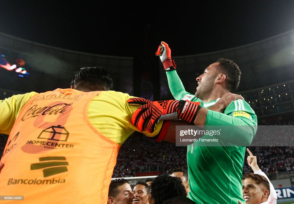 David Ospina of Colombia celebrates the qualifying to the World Cup Russia 2018 after a match between Peru and Colombia as part of FIFA 2018 World Cup Qualifiers at National Stadium on October 10, 2017 in Lima, Peru.