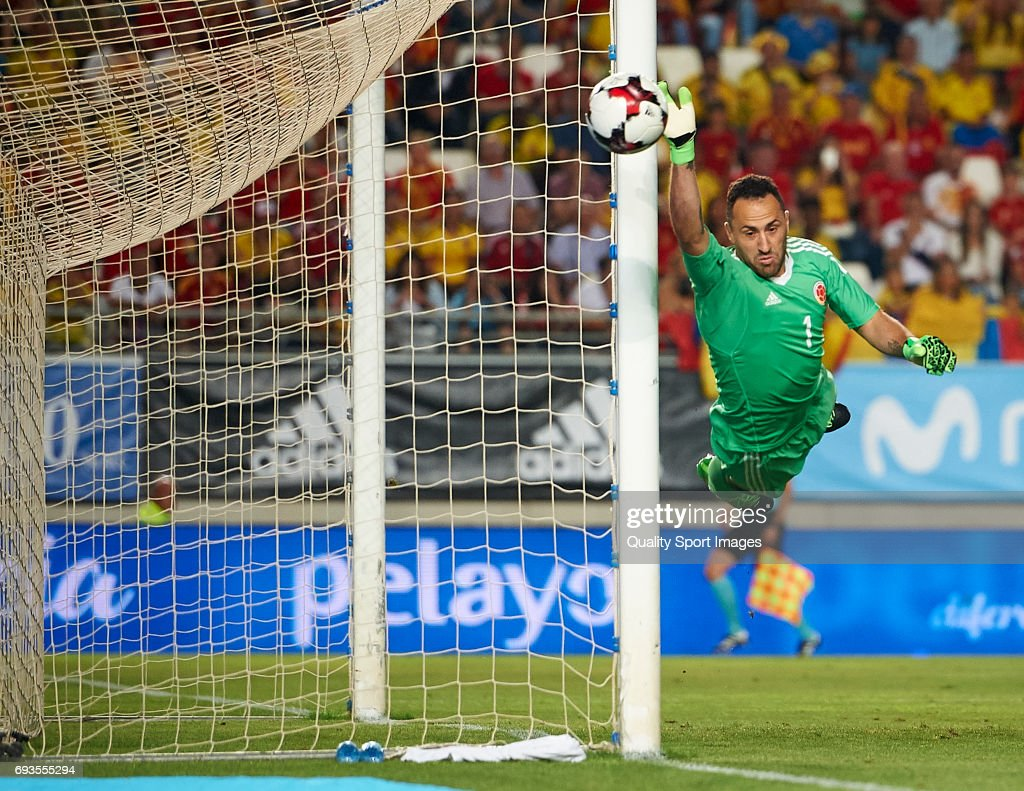 David Ospina of Colombia in action during the international friendly match between Spain and Colombia at Nueva Condomina stadium on June 7, 2017 in Murcia, Spain.