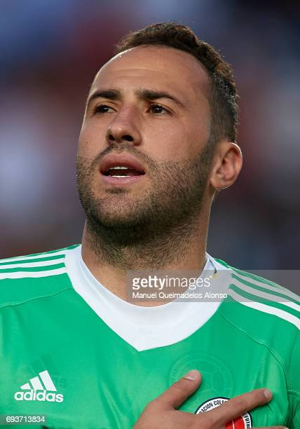 David Ospina of Colombia stands for their national athem prior to the international friendly match between Spain and Colombia at Nueva Condomina...