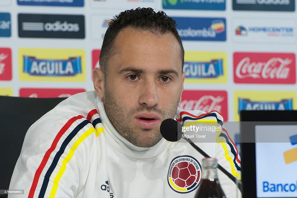 <a gi-track='captionPersonalityLinkClicked' href=/galleries/search?phrase=David+Ospina&family=editorial&specificpeople=4104267 ng-click='$event.stopPropagation()'>David Ospina</a> Ramirez goalkeeper of Colombia talks during a press conference at San Carlos de Apoquindo Stadium on June 12, 2015 in Santiago, Chile. Colombia will face Brazil as part of 2015 Copa America Chile on June 17.