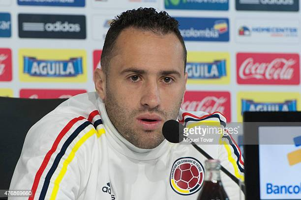 David Ospina Ramirez goalkeeper of Colombia talks during a press conference at San Carlos de Apoquindo Stadium on June 12 2015 in Santiago Chile...