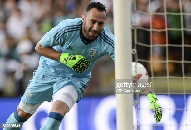 David Ospina tries to stop the ball during a friendly match organized by the Juan Cuadrado foundation between the friends of Colombian midfielder...