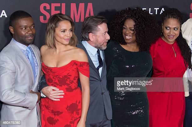 David Oyelowo Carmen Ejogo Tim Roth Oprah Winfrey and Ava DuVernay attend the 'Selma' New York Premiere at the Ziegfeld Theater on December 14 2014...