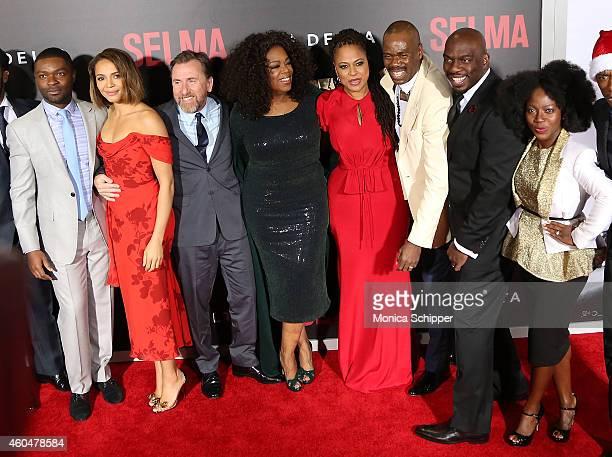David Oyelowo Carmen Ejogo Tim Roth Oprah Winfrey Ava DuVernay Omar Dorsey and Charity Jordan attend 'Selma' New York Premiere Inside Arrivals at...