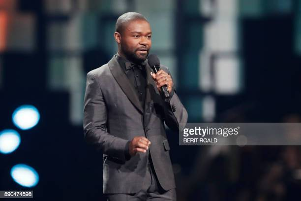 David Oyelowo gives a speach during the Nobel Peace Prize Concert to honor the peace prize laureates ICAN in Fornebu Norway on December 11 2017 / AFP...