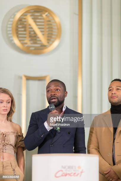 David Oyelowo speaks during the press conference ahead of the Nobel Peace Prize Concert at the Norwegian Nobel Institute on December 11 2017 in Oslo...