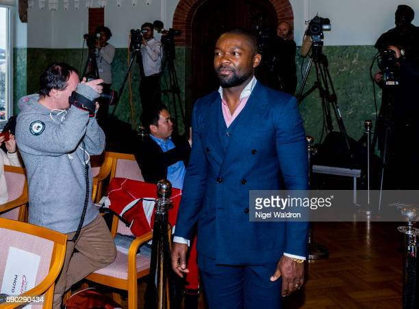David Oyelowo this evenings host attends the press conference ahead of the Nobel Peace Prize Concert 2017 at the Norwegian Nobel Institute on...