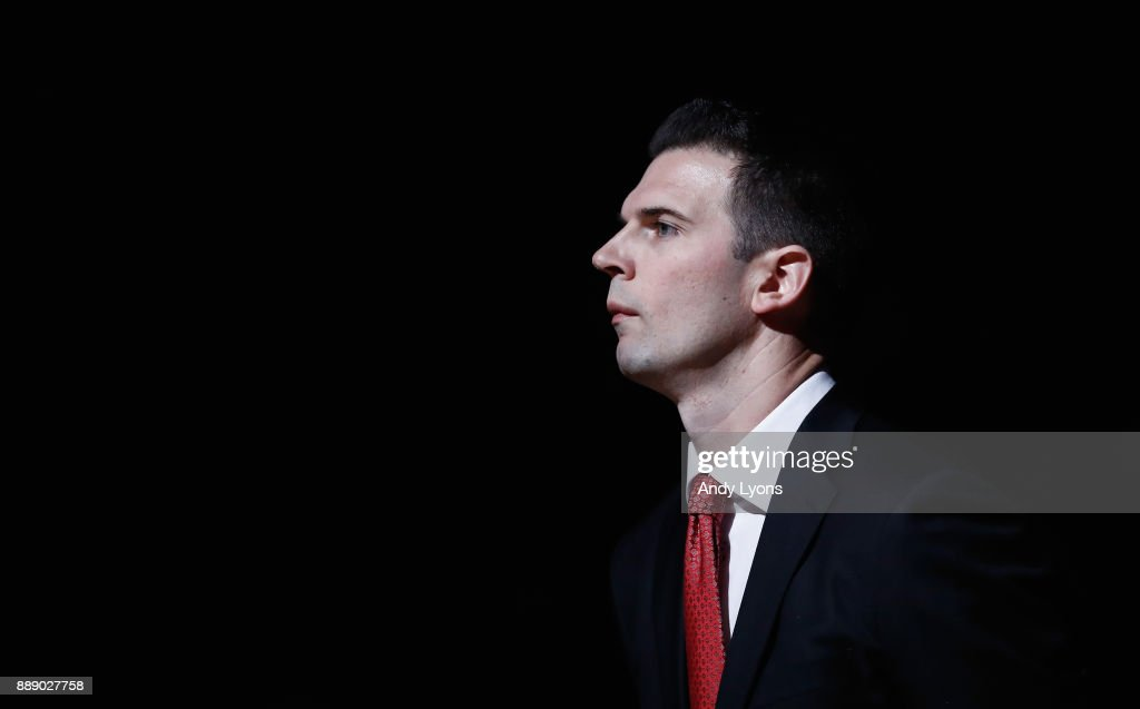 David Padgett the head coach of the Louisville Cardinals is introduced before the game against the Indiana Hoosiers at KFC YUM! Center on December 9, 2017 in Louisville, Kentucky.