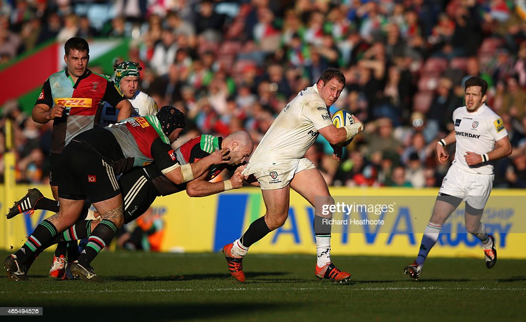 David Paice of Irish is tackled by <a gi-track='captionPersonalityLinkClicked' href=/galleries/search?phrase=George+Robson+-+Rugby+Player&family=editorial&specificpeople=11374681 ng-click='$event.stopPropagation()'>George Robson</a> of Quins during the Aviva Premiership match between Harlequins and London Irish at the Twickenham Stoop on March 7, 2015 in London, England.