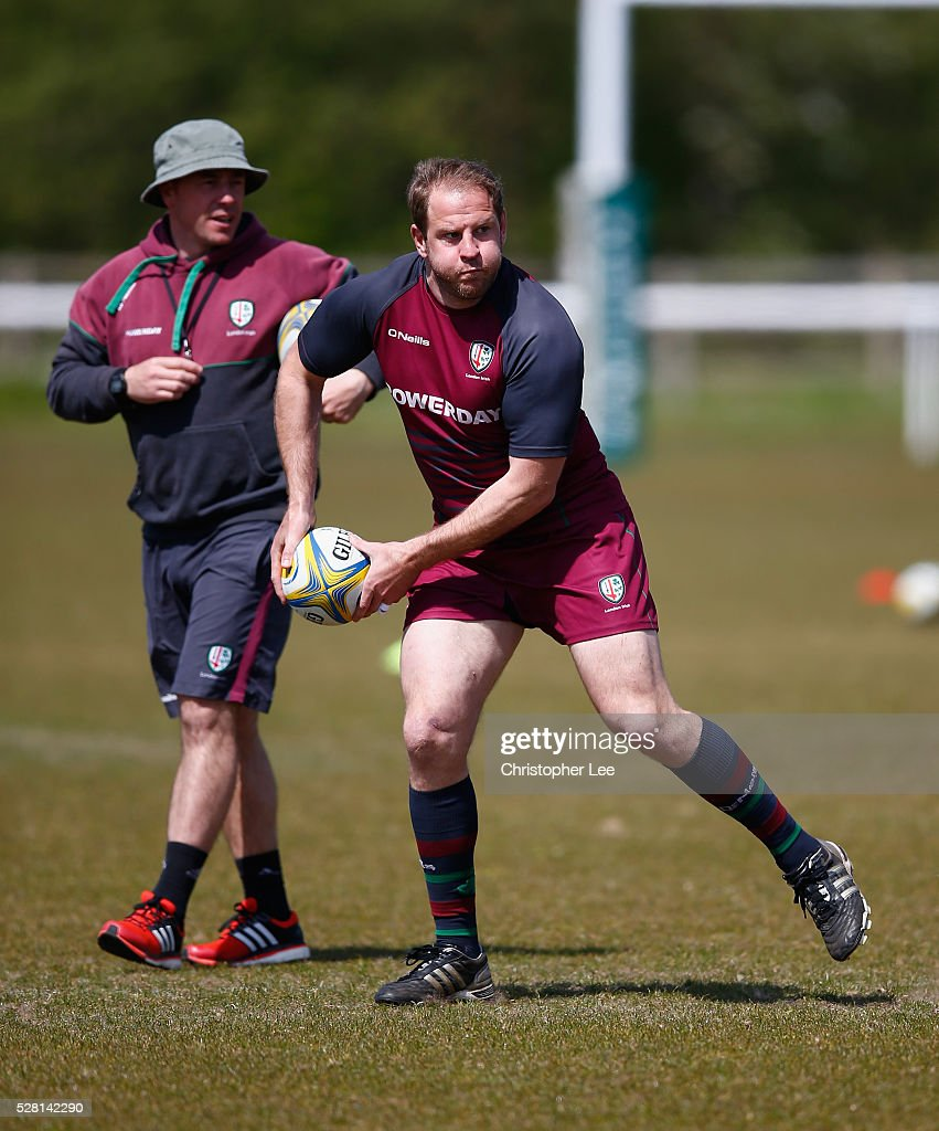 David Paice of London Irish in action during the London Irish Media Session at Hazelwood Centre on May 4, 2016 in Sunbury, England.