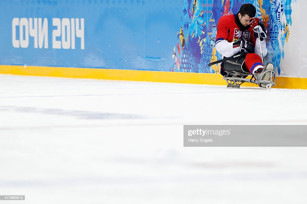 David Palat of Czech Republic looks dejected after his side was knocked out of the tournament after losing the Ice Sledge Hockey Preliminary Round Group A match between Canada and the Czech Republic at the Shayba Arena during day four of the Sochi 2014 Paralympic Winter Games on March 11, 2014 in Sochi, Russia.