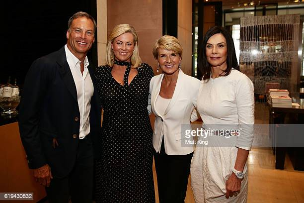 David Panton Samantha Armytage Julie Bishop and Carolyn Hartz pose during the launch of Carolyn Hartz's new cookbook 'Sugar Free Baking' at Grand...