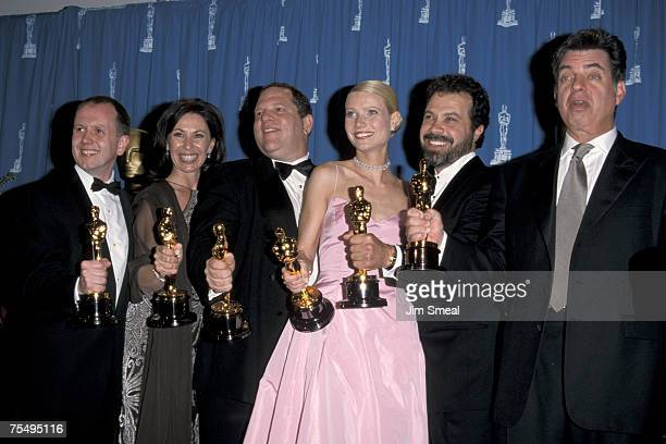 David Parfitt Donna Gigliotti Harvey Weinstein Gwyneth Paltrow and Edward Zwick at the Dorothy Chandler Pavillion in Los Angeles California