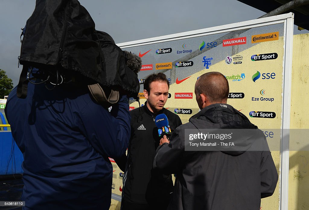 David Parker, Manager of Birmingham City Ladies is interviewed by BT Sport before the WSL match between Birmingham City Ladies and Arsenal Ladies FC at Automated Technology Stadium on June 29, 2016 in Solihull, England.