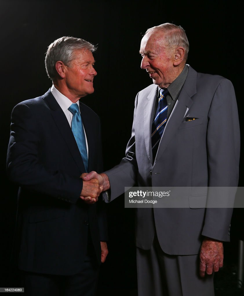 David Parkin (L) is congratulated by John Kennedy Snr for being inducted as a legend during the Hawthorn Hawks Season Launch and Hall of Fame presentation at Encore St Kilda on March 21, 2013 in Melbourne, Australia.