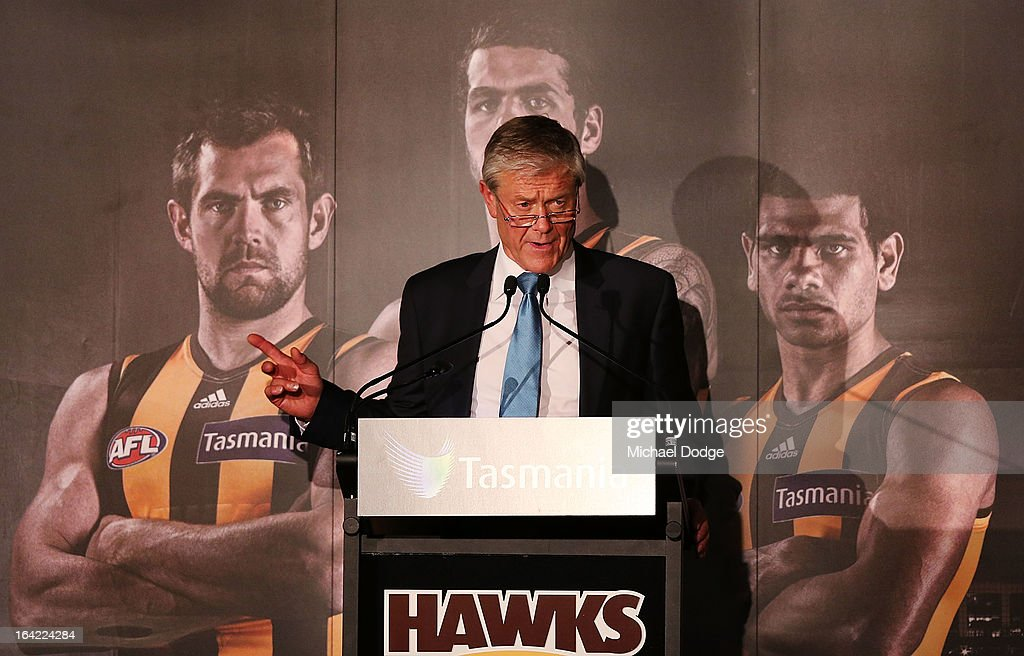 David Parkin speaks on stage after being inducted as a legend during the Hawthorn Hawks Season Launch and Hall of Fame presentation at Encore St Kilda on March 21, 2013 in Melbourne, Australia.