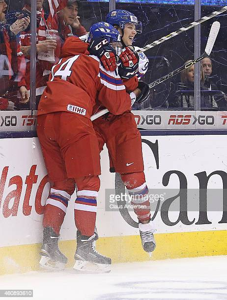 David Pastrnak of Team Czech Republic celebrates his winning goal in overtime against Team Denmark in the 2015 IIHF World Junior Hockey Championship...