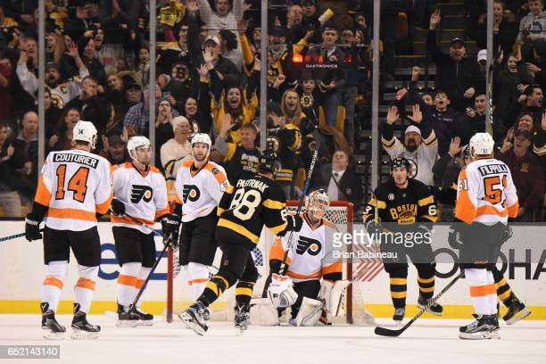 David Pastrnak of the Boston Bruins scores a goal against the Philadelphia Flyers at the TD Garden on March 11 2017 in Boston Massachusetts
