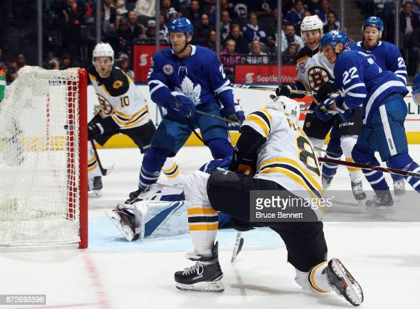 David Pastrnak of the Boston Bruins scores a powerplay goal at 1430 of the third period against the Toronto Maple Leafs at the Air Canada Centre on...