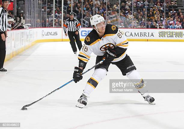 David Pastrnak of the Boston Bruins shoots against the Colorado Avalanche at the Pepsi Center on November 13 2016 in Denver Colorado The Bruins...