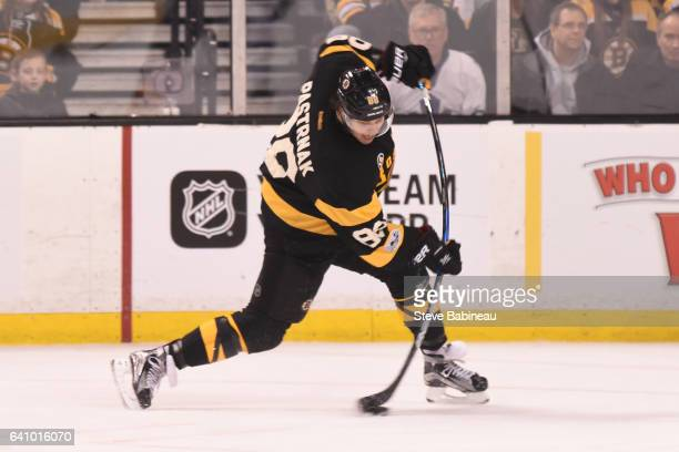 David Pastrnak of the Boston Bruins shoots the puck against the Toronto Maple Leafs at the TD Garden on February 4 2017 in Boston Massachusetts