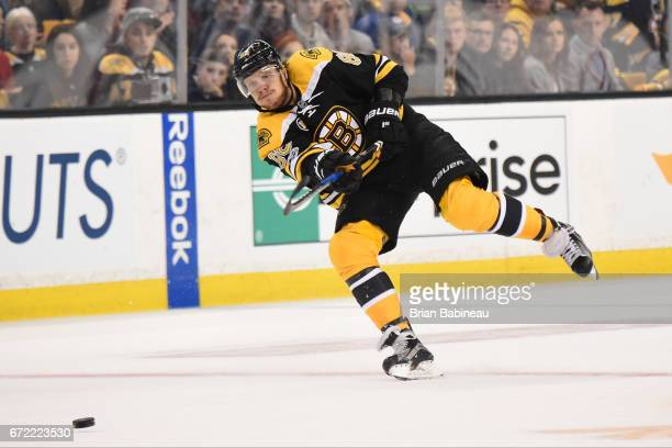 David Pastrnak of the Boston Bruins shoots the puck against the Ottawa Senators in Game Six of the Eastern Conference First Round during the 2017 NHL...